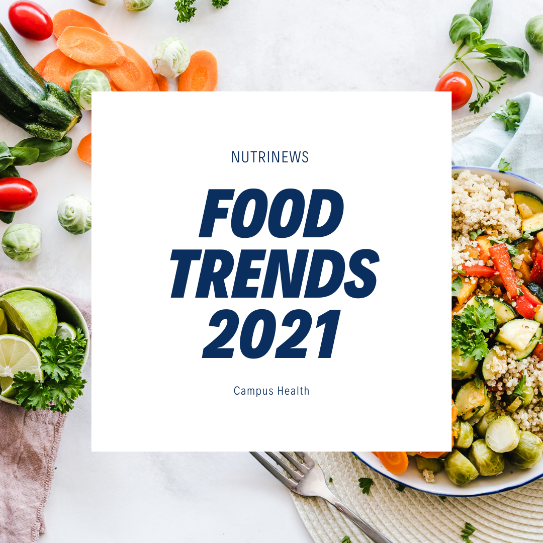 Photo of vegetables and one bowl of vegetables, text reads: Food Trends 2021
