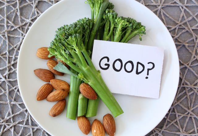Broccoli and almonds on a plate with word Good?